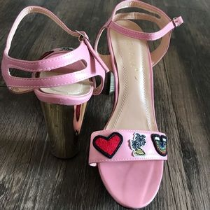 Chase+Cole pink patch block heels size 10